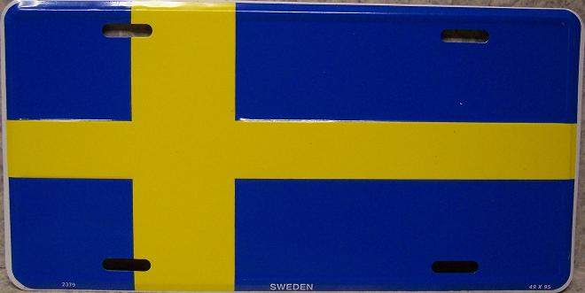 Sweden Aluminum License Plate International Flag thumbnail