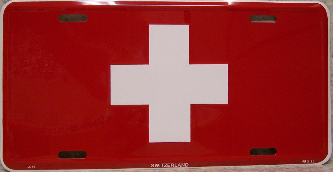 Switzerland Aluminum License Plate International Flag thumbnail