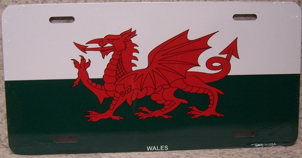 Wales Aluminum License Plate International Flag thumbnail