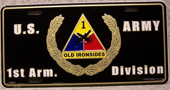 Army First Armored Division Aluminum Military License Plate thumbnail