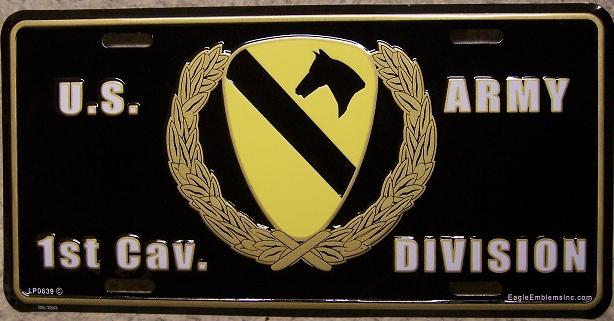 Army First Cavalry Division Aluminum Military License Plate thumbnail