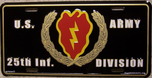 Army Twenty Fifth Infantry Division Aluminum Military License Plate thumbnail