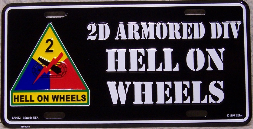 Army Second Armored Division Aluminum Military License Plate thumbnail