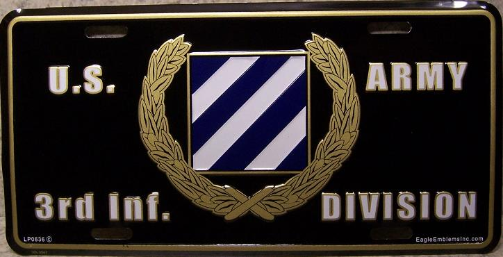 Army Third Infantry Division Aluminum Military License Plate thumbnail