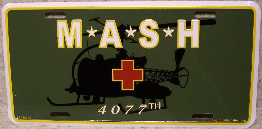 Army 4077 MASH Aluminum Military License Plate thumbnail