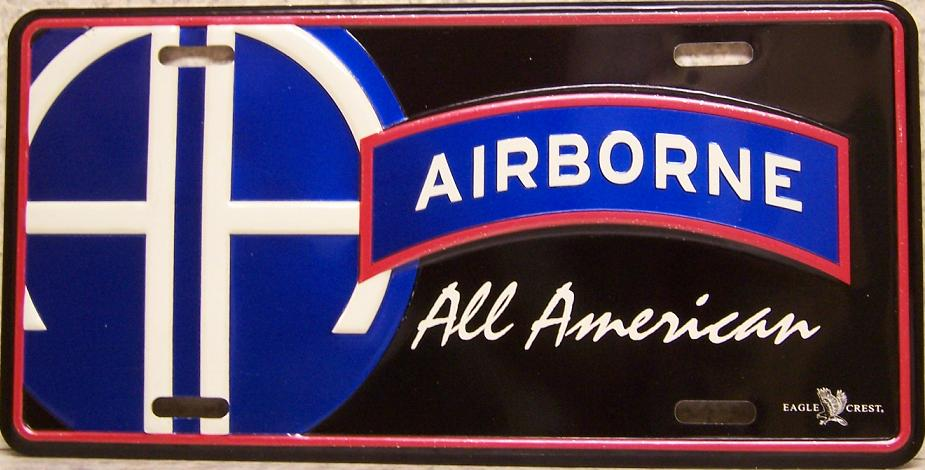 Army 82nd Airborne Aluminum Military License Plate thumbnail