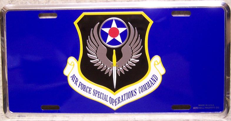 Air Force Special Operations Command Aluminum Military License Plate thumbnail