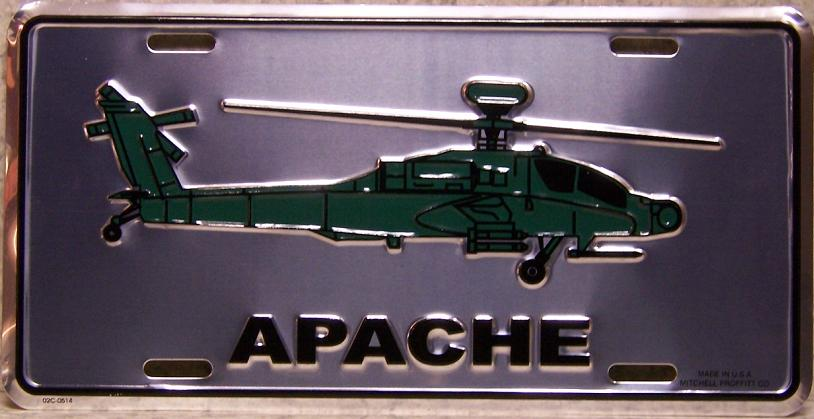 Army Apache Helicopter Aluminum Military License Plate thumbnail
