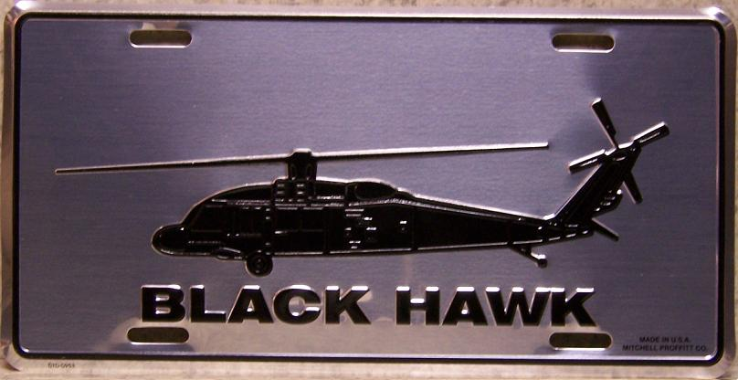 Army Black Hawk Helicopter Aluminum Military License Plate thumbnail
