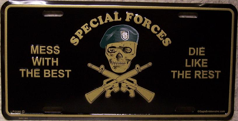 Army Special Forces Mess with the best die like the rest Aluminum Military License Plate thumbnail
