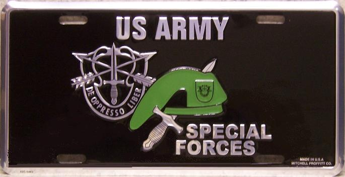 Army Special Forces Green Beret Aluminum Military License Plate thumbnail