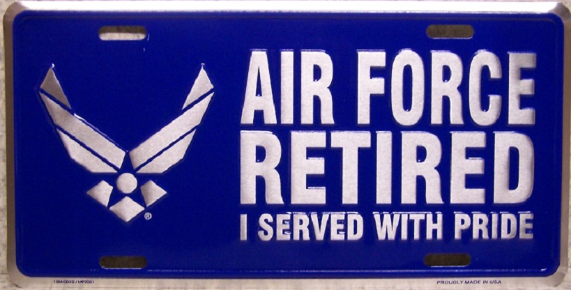 Air Force Retired Aluminum Military License Plate thumbnail