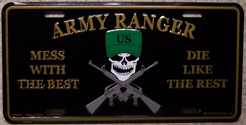 Army Ranger Mess with the best die like the rest Aluminum Military License Plate thumbnail