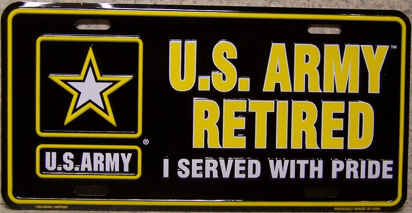 Army Retired Aluminum Military License Plate thumbnail