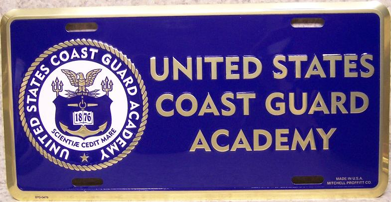 Coast Guard Academy Aluminum Military License Plate thumbnail