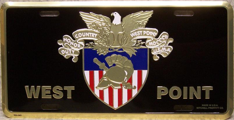 Army West Point Crest Aluminum Military License Plate thumbnail