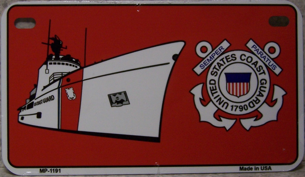 U S Coast Guard Aluminum Motorcycle License Plate thumbnail