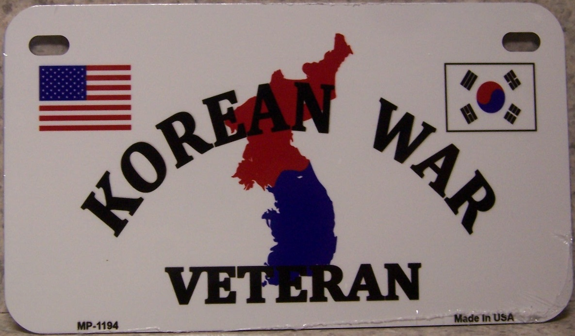 Korean War Veteran Aluminum Motorcycle License Plate thumbnail