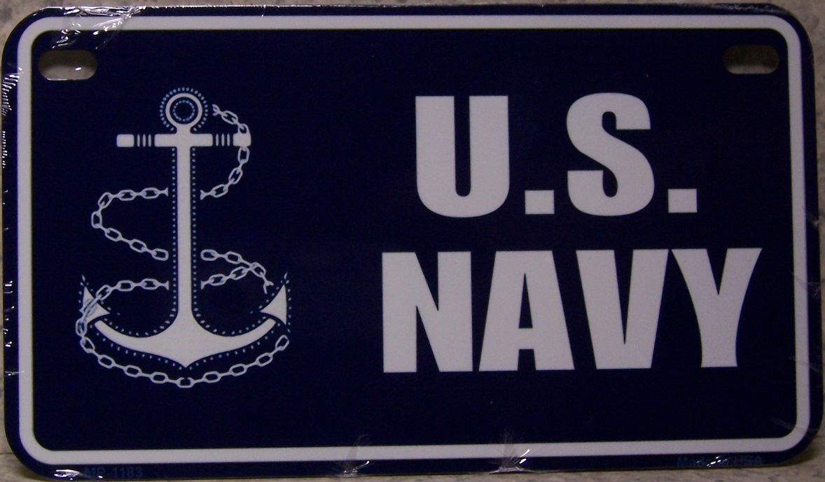 U S Navy Aluminum Motorcycle License Plate thumbnail