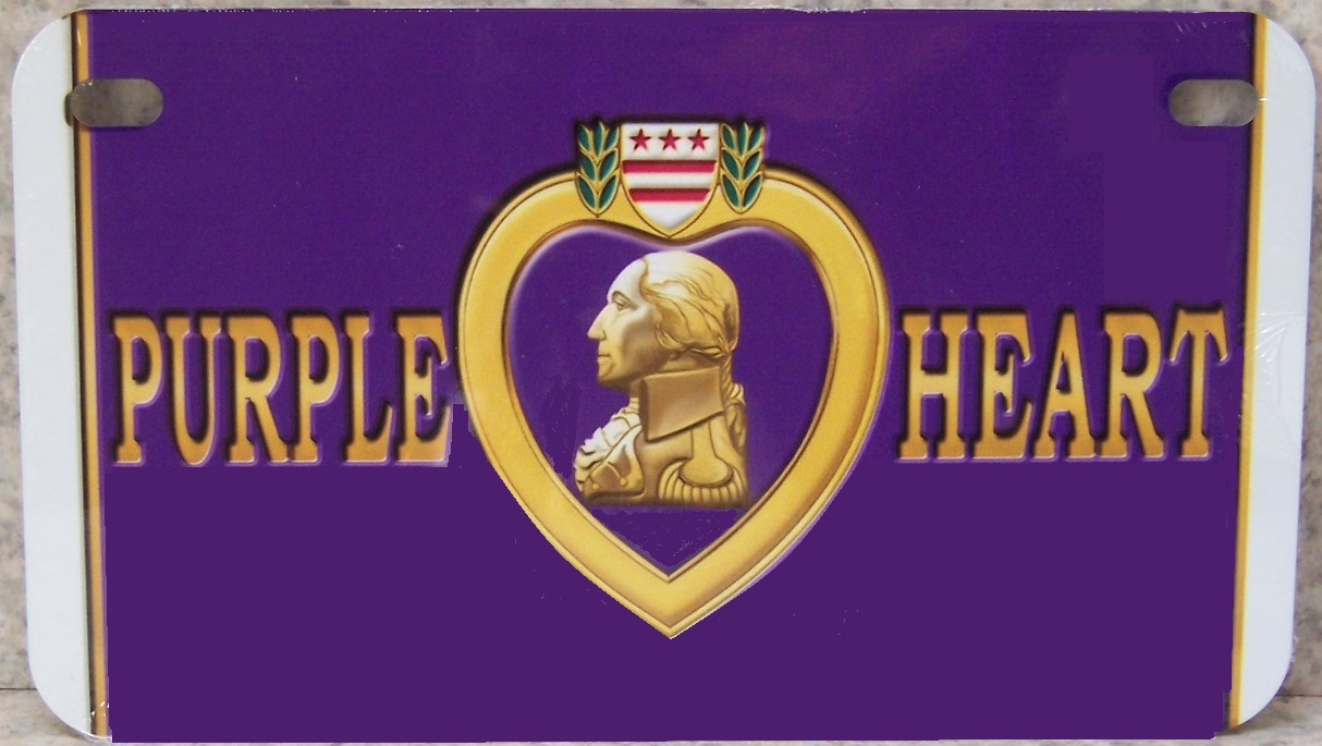 Purple Heart Aluminum Motorcycle License Plate thumbnail