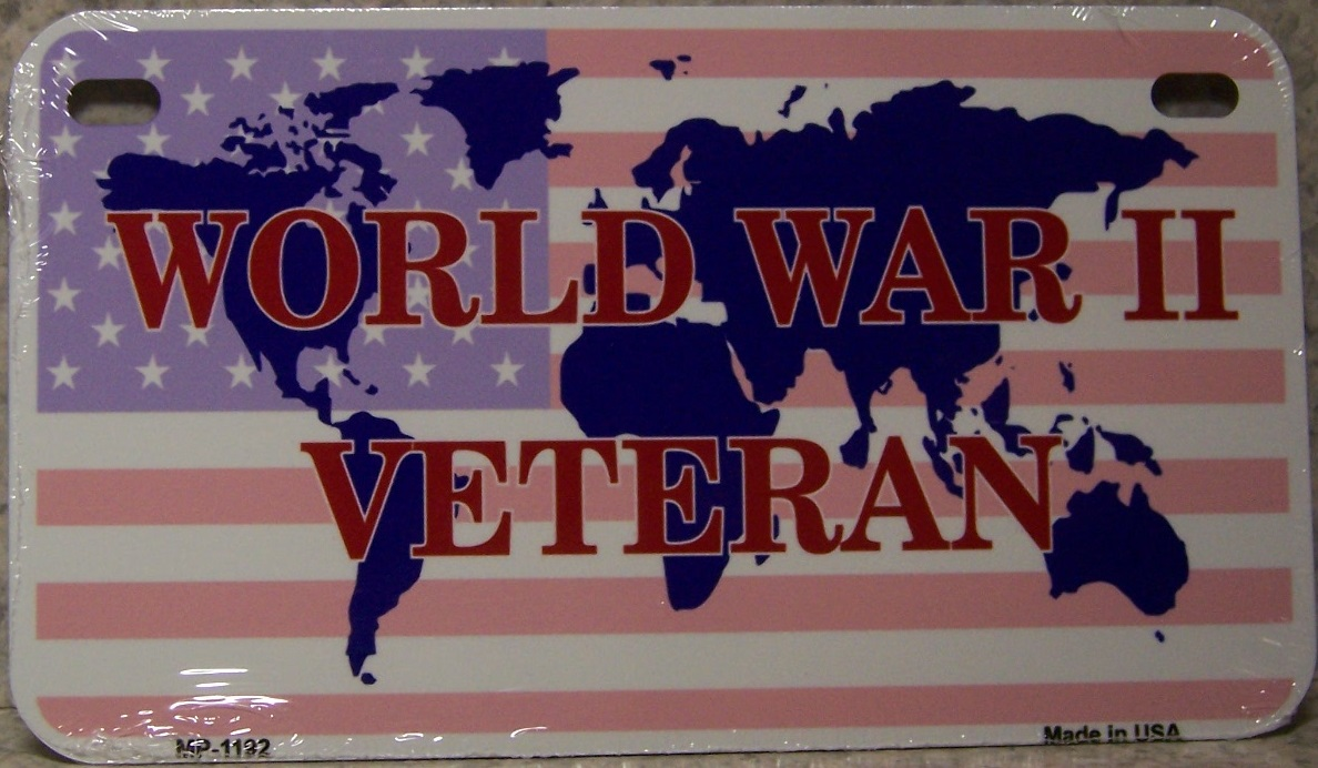 World War 2 Veteran Aluminum Motorcycle License Plate thumbnail