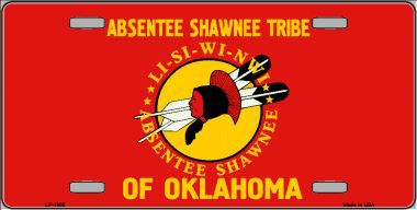 Absentee Shawnee Tribe Aluminum Native American License Plate thumbnail