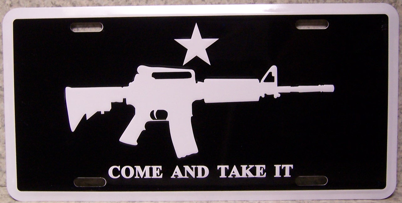 Come and Take It Aluminum Second Amendment License Plate thumbnail