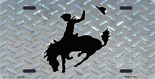 Bronco Busting Aluminum License Plate America at Play thumbnail