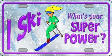 I Ski What's Your Superpower Aluminum License Plate America at Play thumbnail