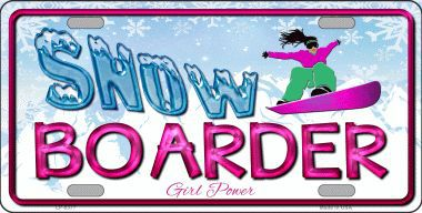 Snow Boarder Girl Aluminum License Plate America at Play thumbnail
