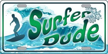 Surfer Dude Aluminum License Plate America at Play thumbnail