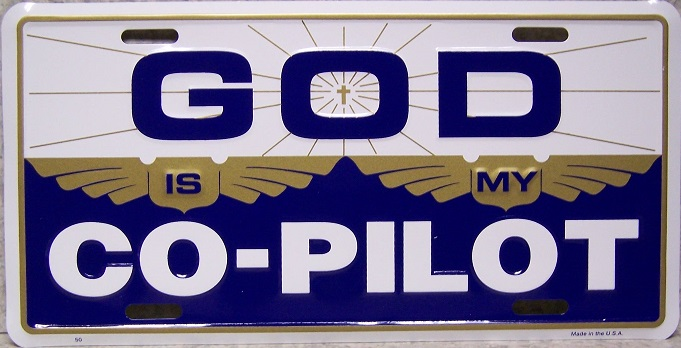 God is my Co Pilot Religious Aluminum License Plate thumbnail