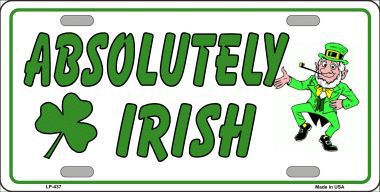 Absolutely Irish Saint patricks Day Aluminum License Plate thumbnail