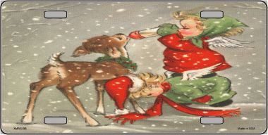 Angel Feeding Reindeer Christmas Aluminum License Plate thumbnail