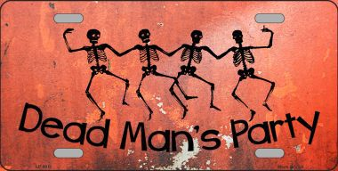 Dead Mans Party Halloween Aluminum License Plate thumbnail