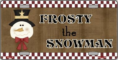 Frosty the Snowman Christmas Aluminum License Plate thumbnail
