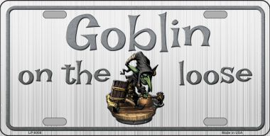 Goblin on the Loose Halloween Aluminum License Plate thumbnail