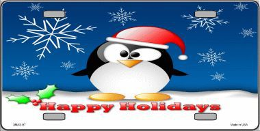Happy Holidays Christmas Aluminum License Plate thumbnail