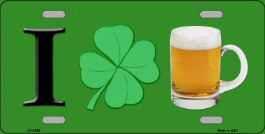 I Love Beer Saint patricks Day Aluminum License Plate thumbnail