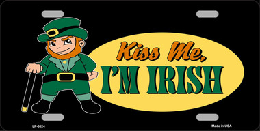 Kiss Me I Am Iriah Saint patricks Day Aluminum License Plate thumbnail