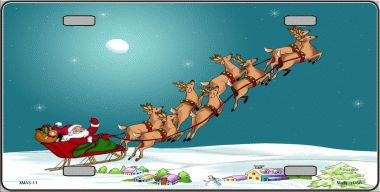 Reindeer and Sleigh Christmas Aluminum License Plate thumbnail