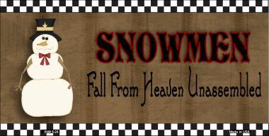 Snowmen Fall From Heaven Unassembled Christmas Aluminum License Plate thumbnail