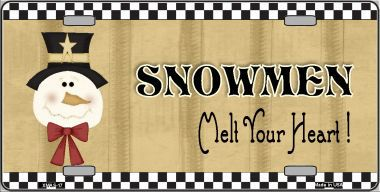 Snowmen Melt Your Heart Christmas Aluminum License Plate thumbnail