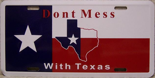 Dont Mess with Texas Aluminum License Plate thumbnail