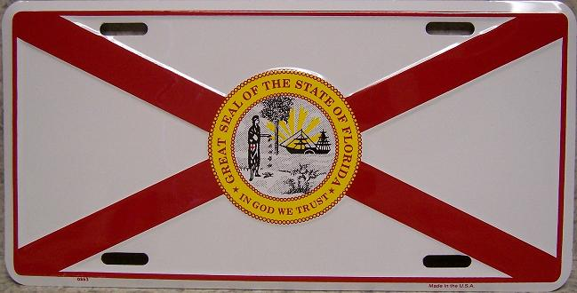 Florida State Flag Aluminum License Plate thumbnail