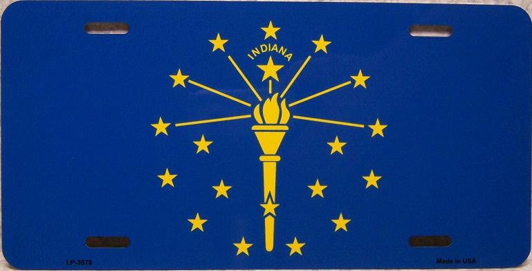 Indiana State Flag Aluminum License Plate thumbnail