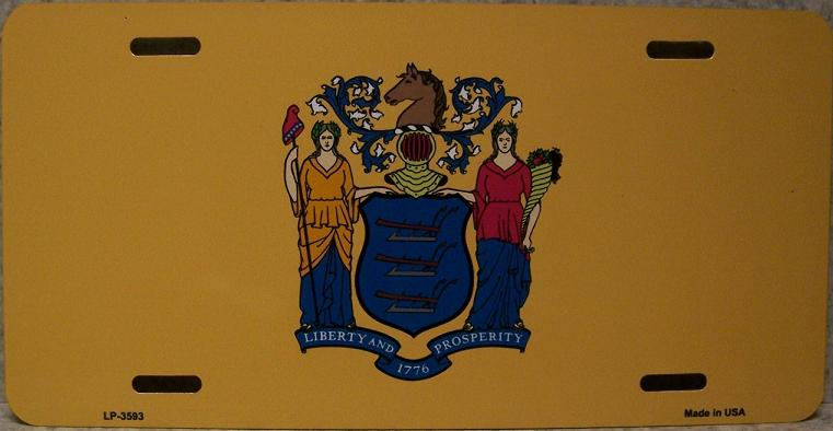 New Jersey State Flag Aluminum License Plate thumbnail