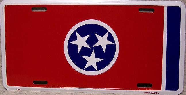 Tennessee State Flag Aluminum License Plate thumbnail