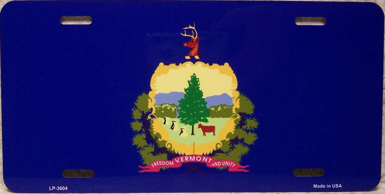 Vermont State Flag Aluminum License Plate thumbnail