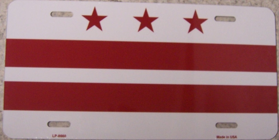 Washington District of Columbia Flag Aluminum License Plate thumbnail
